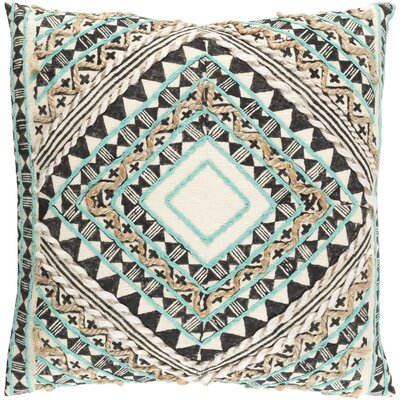 Jaidyn Cotton Throw Pillow Size: 22 H x 22 W x 4 D, Color: Mint/Camel/Black/Cream