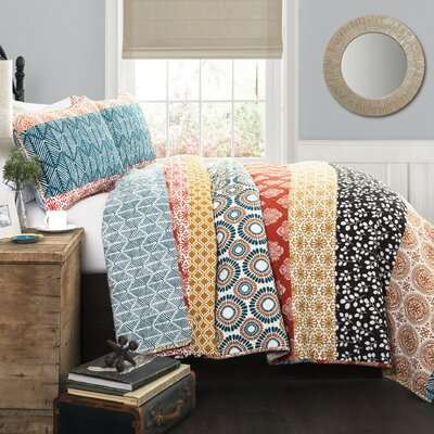 Prescott Stripe 3 Piece Reversible Quilt Set Size: King