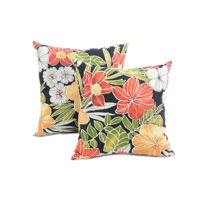 Alla Outdoor Throw Pillow Color: Aloha Black