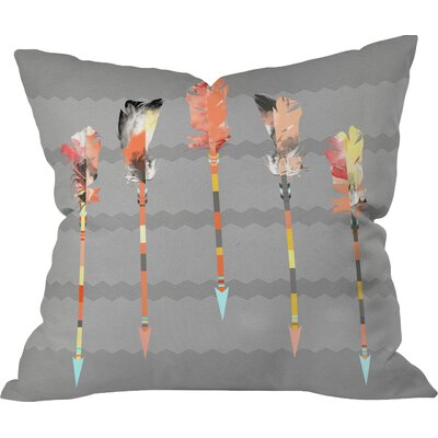 Burgess Indoor/Outdoor Feathers Throw Pillow Size: 26 H x 26 W x 7 D, Color: Gray/Pastel