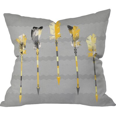 Burgess Indoor/Outdoor Feathers Throw Pillow Size: 26 H x 26 W x 7 D, Color: Gray/Yellow