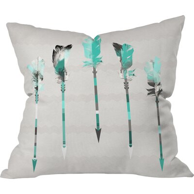 Burgess Indoor/Outdoor Feathers Throw Pillow Size: 26 H x 26 W x 7 D, Color: Teal