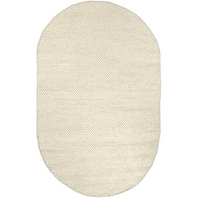 Zayan Meika Chunky Wool Cable Beige Area Rug Rug Size: Oval 5 x 8