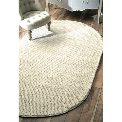 Arviso Hand-Woven Wool Off White Area Rug Rug Size: Oval 5 x 8