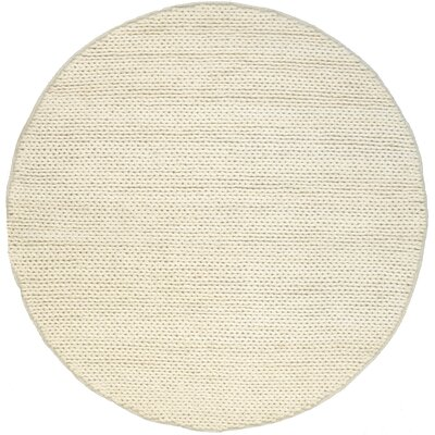 Zayan Meika Chunky Wool Cable Beige Area Rug Rug Size: Round 6