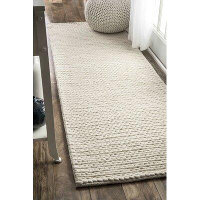 Zayan Meika Chunky Wool Cable Beige Area Rug Rug Size: Runner 26 x 8