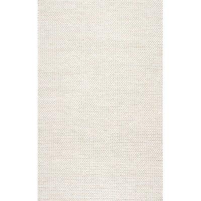 Zayan Meika Chunky Wool Cable Beige Area Rug Rug Size: 3 x 5
