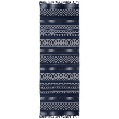 Bruges Hand-Loomed Blue Area Rug Rug Size: Runner 26 x 8