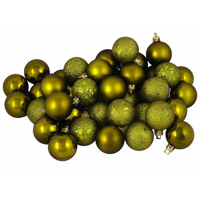 96 Piece Shatterproof Christmas Ball Ornament Set Color: Olive Green