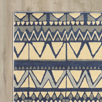 Abattoirs Hand-Tufted Beige/Blue Area Rug Rug Size: Rectangle 2 x 3