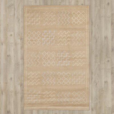 Yelisey Hand-Knotted Beige Area Rug Rug Size: Rectangle 79 x 99