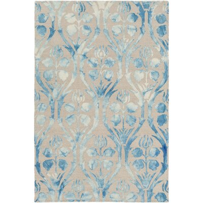 Amsterdam Hand-Hooked Blue/Beige Area Rug Rug Size: 5 x 76