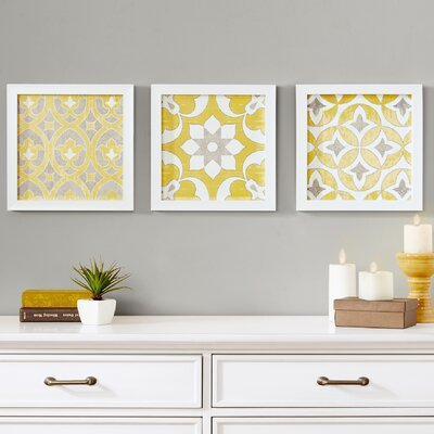 Tuscan Tiles Framed 3 Piece Graphic Art Print Set
