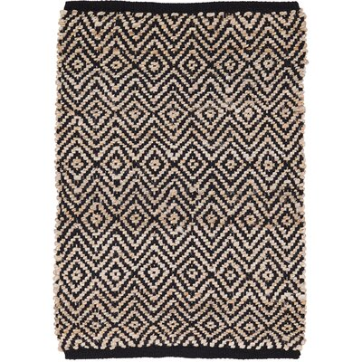 Conner Hand-Woven Black/Beige Area Rug Rug Size: 18 x 26