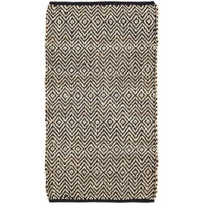 Conner Hand-Woven Black/Beige Area Rug Rug Size: 23 x 4