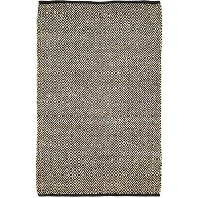 Conner Hand-Woven Black/Beige Area Rug Rug Size: 4 x 6