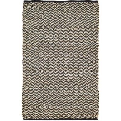 Alameda Hand-Woven Black/Beige Area Rug Rug Size: 4 x 6