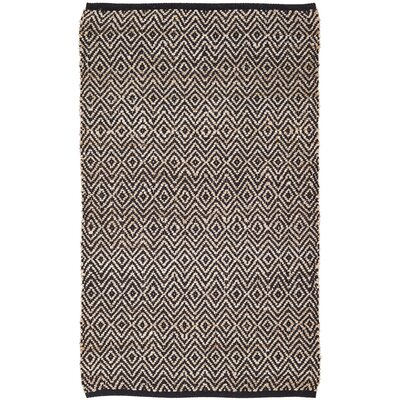 Conner Hand-Woven Black/Beige Area Rug Rug Size: 3 x 5