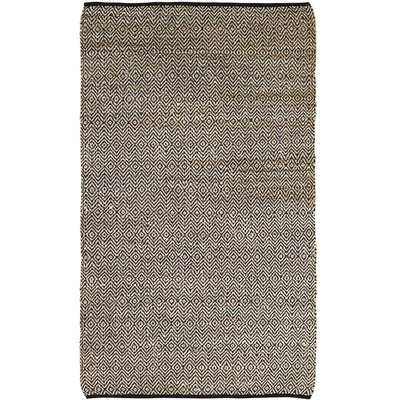 Conner Hand-Woven Black/Beige Area Rug Rug Size: 5 x 8