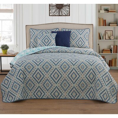 Aiden 5 Piece Quilt Set Color: Blue, Size: Queen