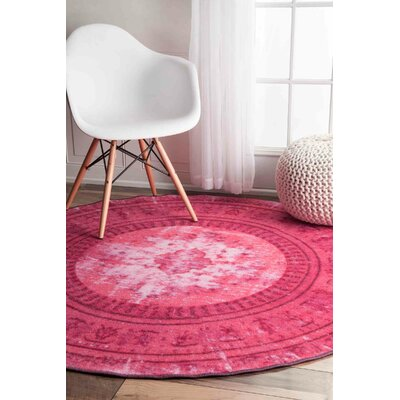 Bungalow Rose Hawkesbury Pink Floral Area Rug