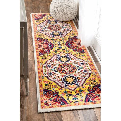 Holland Yellow/Red Area Rug Rug Size: Runner 25 x 8