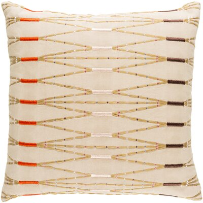 Kadin Cotton Throw Pillow Size: 22 H x 22 W x 4 D, Color: Taupe/Bright Orange