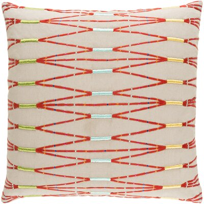 Kadin Cotton Throw Pillow Size: 20 H x 20 W x 4 D, Color: Taupe/Bright Orange