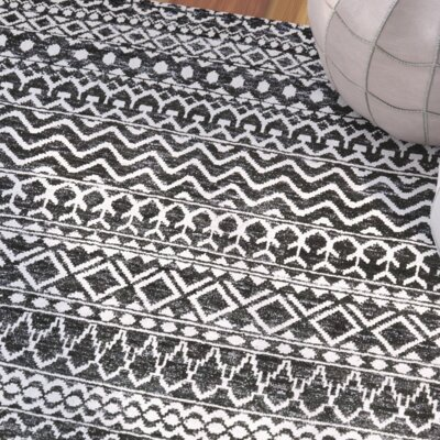 Delrico Hand-Knotted Asphalt Area Rug Rug Size: 4 x 6