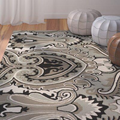 Den Helder Hand-Hooked Gray Indoor/Outdoor Area Rug Rug Size: 5 x 76