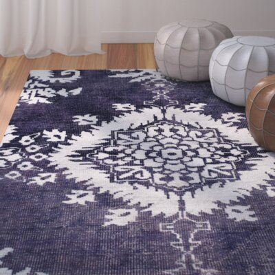 Moulouya Hand-Knotted Deep Purple Area Rug Rug Size: 5 x 8