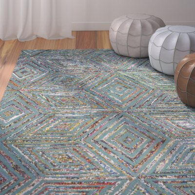 Hand-Tufted Blue Area Rug Rug Size: Round 4