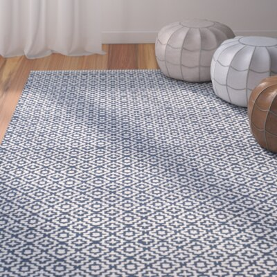 Dormody Hand-Woven Cotton Ivory/Navy Blue Area Rug Rug Size: Rectangle 8 x 10