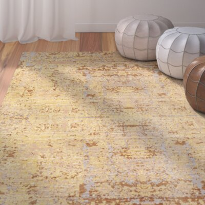 Gold Area Rug Rug Size: Runner 23 x 8