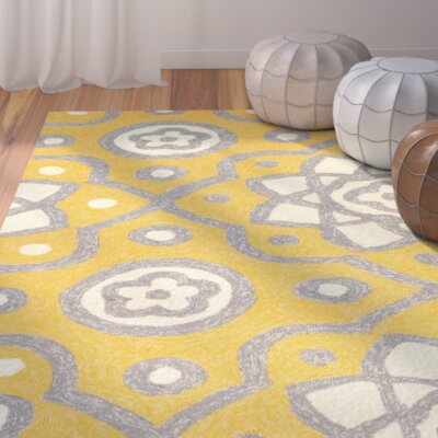 Ayer Yellow Outdoor Area Rug Rug Size: 76 x 96
