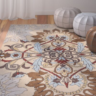 Andaluss Hand-Tufted Beige Area Rug Rug Size: Rectangle 5 x 8