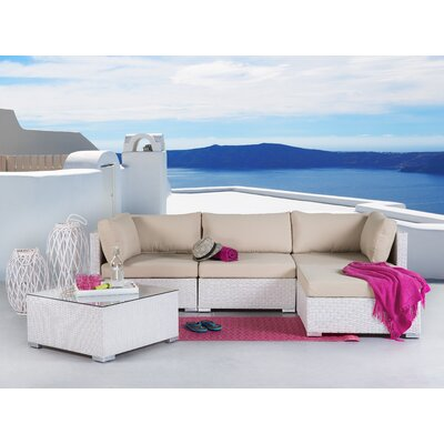 Atchison Deep Seating Sectional with Cushions Finish: White