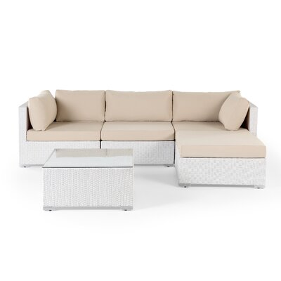 Danbury Deep Seating Sectional with Cushions Finish: White