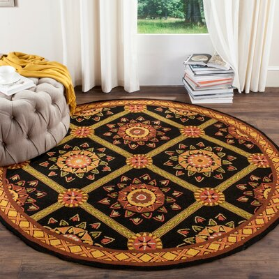 Saduak Hand-Hooked Black/Yellow Area Rug Rug Size: Rectangle 6 x 9