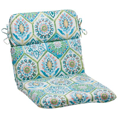 Dyanna Square Outdoor Chair Cushion Color: Blue / Turquoise / Coral / White