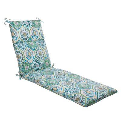Dyanna Outdoor Chaise Lounge Cushion Color: Blue / Turquoise / Coral / White