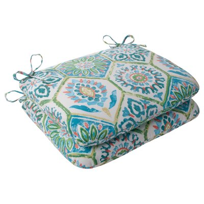 Dyanna Outdoor Seat Cushion Color: Blue / Turquoise / Coral / White