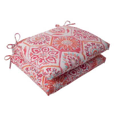 Dyanna Square Outdoor Seat Cushion Color: Pink / Orange / Turquoise / White