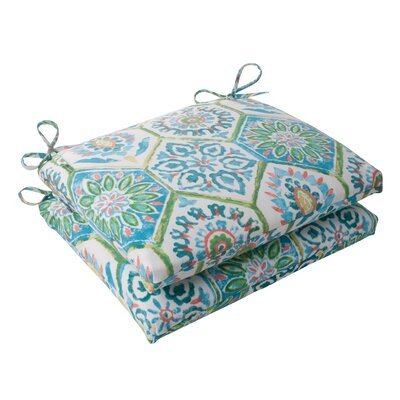 Dyanna Square Outdoor Seat Cushion Color: Blue / Turquoise / Coral / White