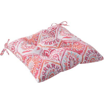 Dyanna Outdoor Seat Cushion with Ties Color: Pink / Orange / Turquoise / White