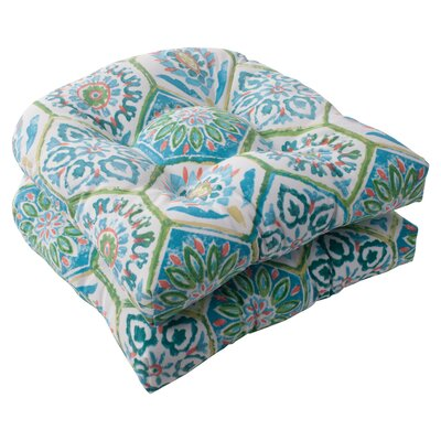 Zutphen Outdoor Seat Cushion Color: Blue / Turquoise / Coral / White