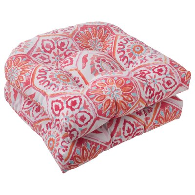 Dyanna Fabric Outdoor Seat Cushion Color: Pink / Orange / Turquoise / White