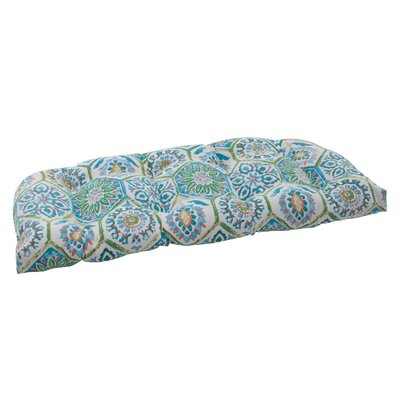 Dyanna Fabric Outdoor Loveseat Cushion Color: Blue / Turquoise / Coral / White