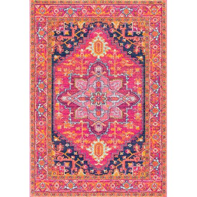 Christophe Blooming Pink/Orange Area Rug Rug Size: Rectangle 9 x 12