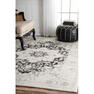 Church Black/Gray Area Rug Rug Size: Rectangle 8 x 10